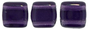 Czechmate 6mm Square Glass Czech Two Hole Tile Bead, Tanzanite - Barrel of Beads