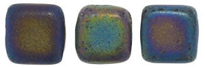 Czechmate 6mm Square Glass Czech Two Hole Tile Bead, Matte Iris Green - Barrel of Beads