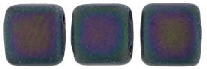 Czechmate 6mm Square Glass Czech Two Hole Tile Bead, Matte Iris Purple - Barrel of Beads