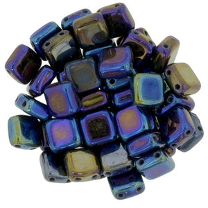 Czechmate 6mm Square Glass Czech Two Hole Tile Bead, Iris Blue - Barrel of Beads