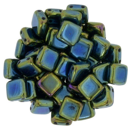 Czechmate 6mm Square Glass Czech Two Hole Tile Bead, Iris Green - Barrel of Beads