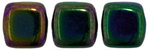 Czechmate 6mm Square Glass Czech Two Hole Tile Bead, Iris Purple - Barrel of Beads