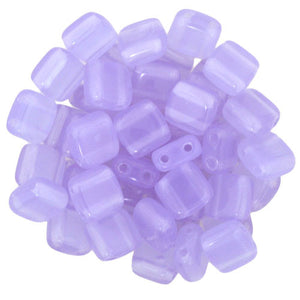Czechmate 6mm Square Glass Czech Two Hole Tile Bead, Milky Alexandrite - Barrel of Beads