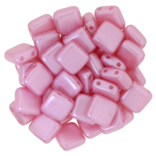 Czechmate 6mm Square Glass Czech Two Hole Tile Bead, Pearl Coat-Pink - Barrel of Beads