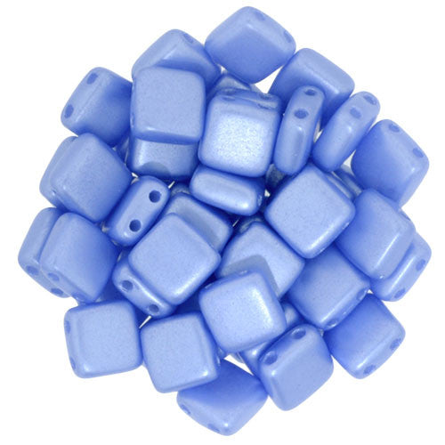 Czechmate 6mm Square Glass Czech Two Hole Tile Bead, Pearl Coat - Baby Blue - Barrel of Beads