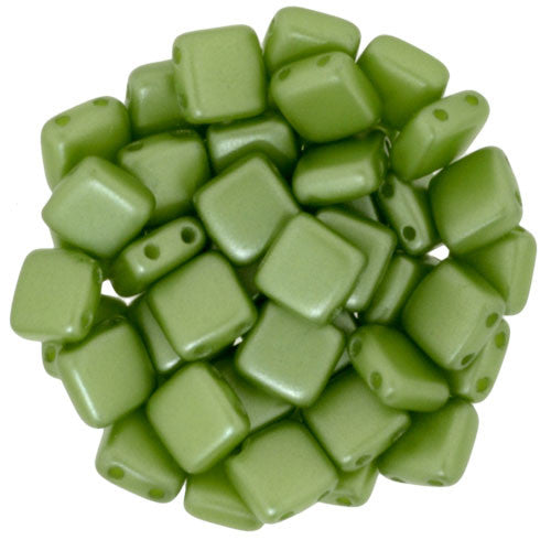Czechmate 6mm Square Glass Czech Two Hole Tile Bead, Pearl Coat - Olive - Barrel of Beads