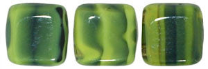 Czechmate 6mm Square Glass Czech Two Hole Tile Bead, Opaque Yellow/Jet - Barrel of Beads