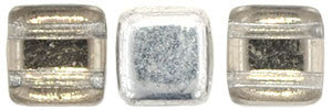 Czechmate 6mm Square Glass Czech Two Hole Tile Bead, Silver - 1/2 Coat - Barrel of Beads