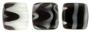 Czechmate 6mm Square Glass Czech Two Hole Tile Bead, Jet/Grey Stripe - Barrel of Beads