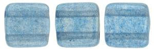 Czechmate 6mm Square Glass Czech Two Hole Tile Bead, Halo - Azurite