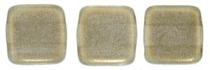 Czechmate 6mm Square Glass Czech Two Hole Tile Bead, Halo - Linen