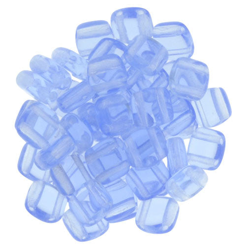 Czechmate 6mm Square Glass Czech Two Hole Tile Bead, Lt Sapphire - Barrel of Beads