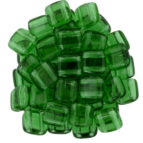 Czechmate 6mm Square Glass Czech Two Hole Tile Bead, Green Emerald - Barrel of Beads