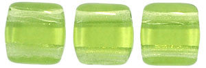 Czechmate 6mm Square Glass Czech Two Hole Tile Bead, Olivine - Barrel of Beads