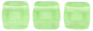 Czechmate 6mm Square Glass Czech Two Hole Tile Bead, Peridot - Barrel of Beads