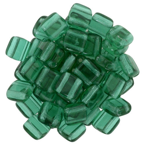 Czechmate 6mm Square Glass Czech Two Hole Tile Bead, Emerald - Barrel of Beads
