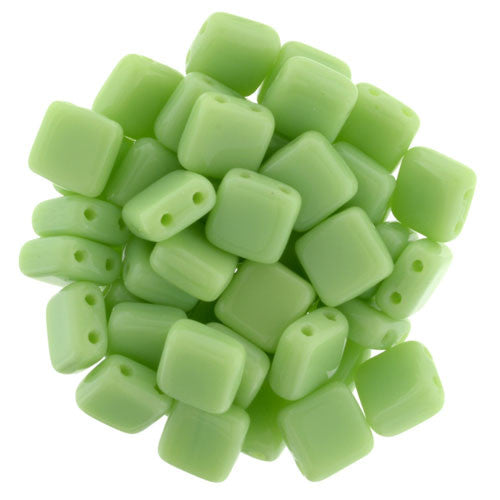 Czechmate 6mm Square Glass Czech Two Hole Tile Bead, Honeydew - Barrel of Beads