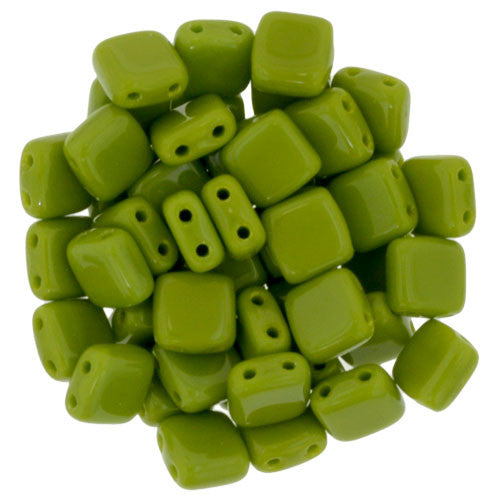 Czechmate 6mm Square Glass Czech Two Hole Tile Bead, Opaque Olive - Barrel of Beads
