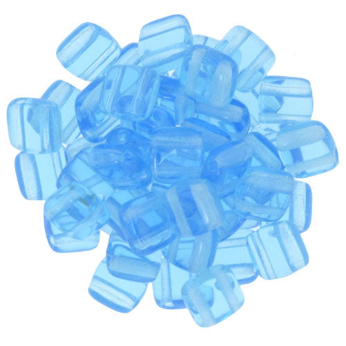 Czechmate 6mm Square Glass Czech Two Hole Tile Bead, Aquamarine - Barrel of Beads