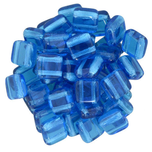 Czechmate 6mm Square Glass Czech Two Hole Tile Bead, Capri Blue - Barrel of Beads