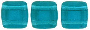 Czechmate 6mm Square Glass Czech Two Hole Tile Bead, Teal - Barrel of Beads