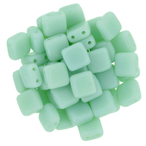 Czechmate 6mm Square Glass Czech Two Hole Tile Bead, Opaque Pale Turquoise - Barrel of Beads