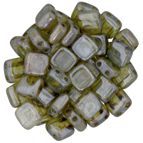 Czechmate 6mm Square Glass Czech Two Hole Tile Bead, Luster Transparent Green - Barrel of Beads