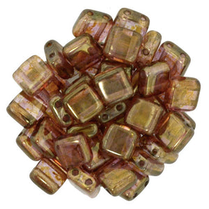 Czechmate 6mm Square Glass Czech Two Hole Tile Bead, Luster Rose/Gold Topaz - Barrel of Beads