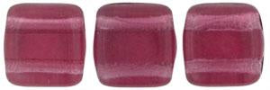 Czechmate 6mm Square Glass Czech Two Hole Tile Bead, Fuchsia