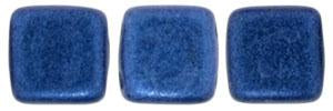 Czechmate 6mm Square Glass Czech Two Hole Tile Bead, Blue Metallic Suede