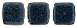 Czechmate 6mm Square Glass Czech Two Hole Tile Bead, Dk Blue Metallic Suede