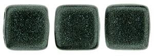 Czechmate 6mm Square Glass Czech Two Hole Tile Bead, Dk Forest Metallic Suede