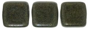 Czechmate 6mm Square Glass Czech Two Hole Tile Bead, Dk Green Metallic Suede