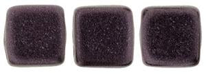 Czechmate 6mm Square Glass Czech Two Hole Tile Bead, Dk Plum Metallic Suede