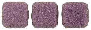 Czechmate 6mm Square Glass Czech Two Hole Tile Bead, Pink Metallic Suede