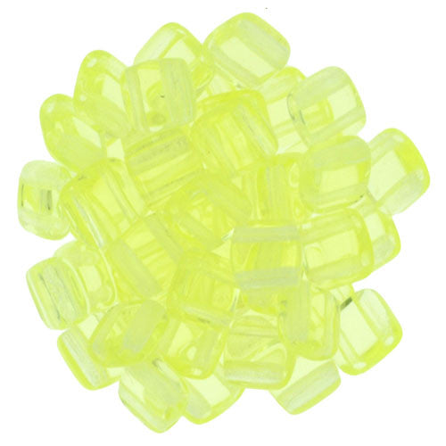 Czechmate 6mm Square Glass Czech Two Hole Tile Bead, Jonquil - Barrel of Beads