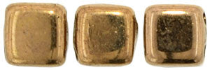 Czechmate 6mm Square Glass Czech Two Hole Tile Bead, Bronze - Barrel of Beads