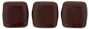 Czechmate 6mm Square Glass Czech Two Hole Tile Bead, Opaque Red