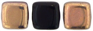 Czechmate 6mm Square Glass Czech Two Hole Tile Bead, Jet Apollo - Barrel of Beads