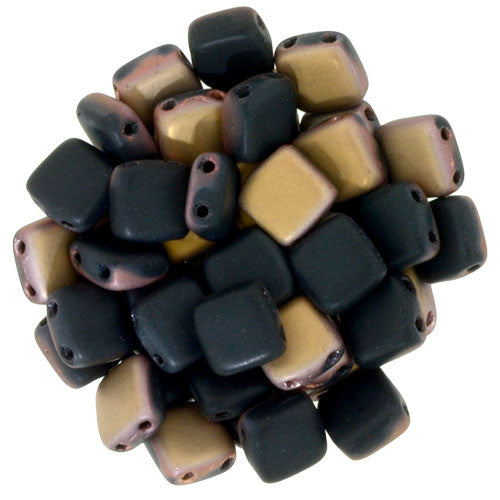 Czechmate 6mm Square Glass Czech Two Hole Tile Bead, Matte Apollo Jet - Barrel of Beads