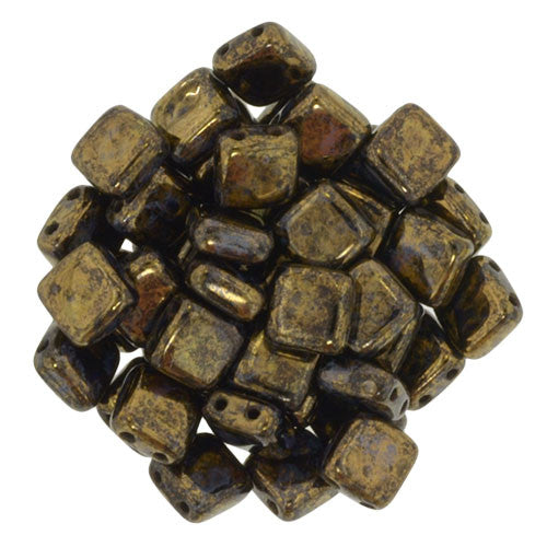 Czechmate 6mm Square Glass Czech Two Hole Tile Bead, Jet/Bronze Picasso - Barrel of Beads