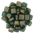 Czechmate 6mm Square Glass Czech Two Hole Tile Bead, Bronze Picasso Teall - Barrel of Beads