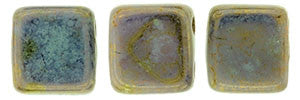 Czechmate 6mm Square Glass Czech Two Hole Tile Bead, Bronze Picasso/Opaque Pale Jade - Barrel of Beads