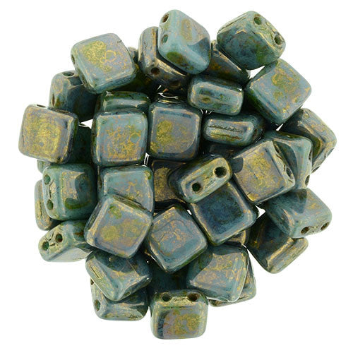 Czechmate 6mm Square Glass Czech Two Hole Tile Bead, Bronze Picasso/Turquoise - Barrel of Beads