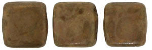 Czechmate 6mm Square Glass Czech Two Hole Tile Bead, Milky Caramel/Bronze Picasso - Barrel of Beads