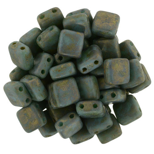 Czechmate 6mm Square Glass Czech Two Hole Tile Bead, Copper Picasso Turquoise - Barrel of Beads