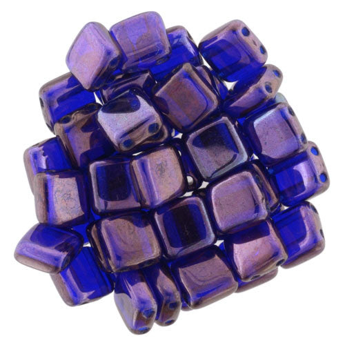 Czechmate 6mm Square Glass Czech Two Hole Tile Bead, Cobalt - Vega - Barrel of Beads