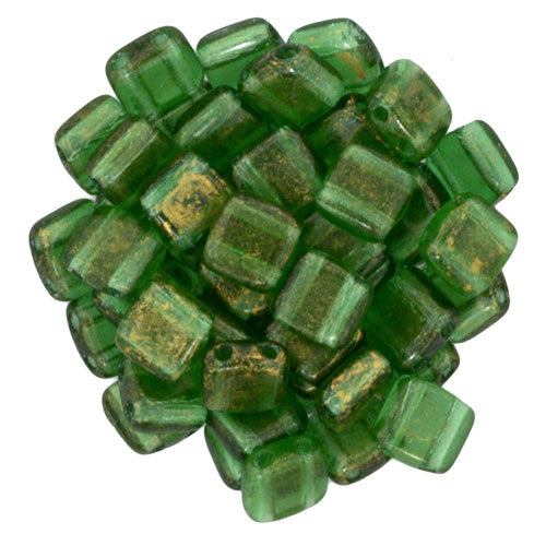 Czechmate 6mm Square Glass Czech Two Hole Tile Bead, Gold Marbled/Green Em - Barrel of Beads