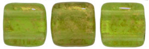 Czechmate 6mm Square Glass Czech Two Hole Tile Bead, Gold Marbled Olivine - Barrel of Beads