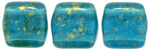 Czechmate 6mm Square Glass Czech Two Hole Tile Bead, Gold Marbled/Capri Blue - Barrel of Beads